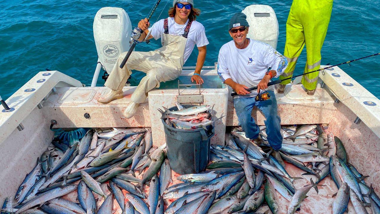 出海船钓遇到鲭鱼群,连竿狂拉1小时钓满了船舱,这样钓鱼太过瘾