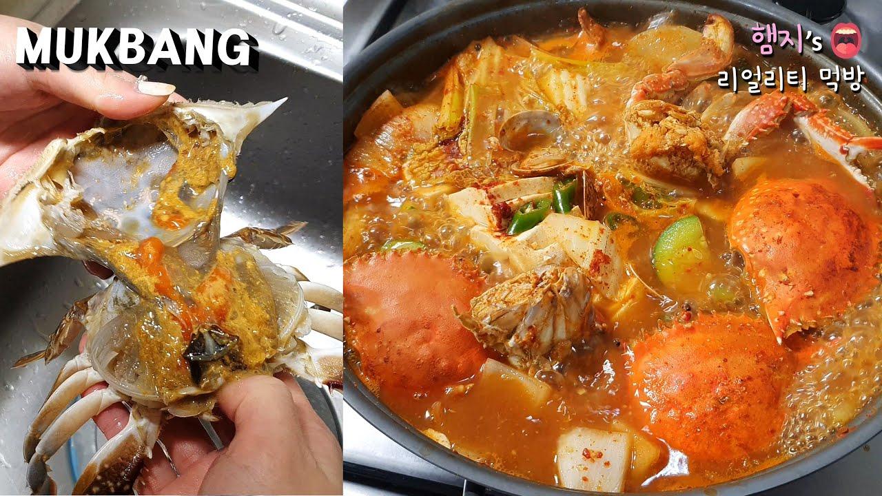 【Hamzy】韩国真香chibo:) 吃螃蟹的季节到啦~ 今天做新鲜爽口的梭子蟹汤~!★甜点是冰淇淋