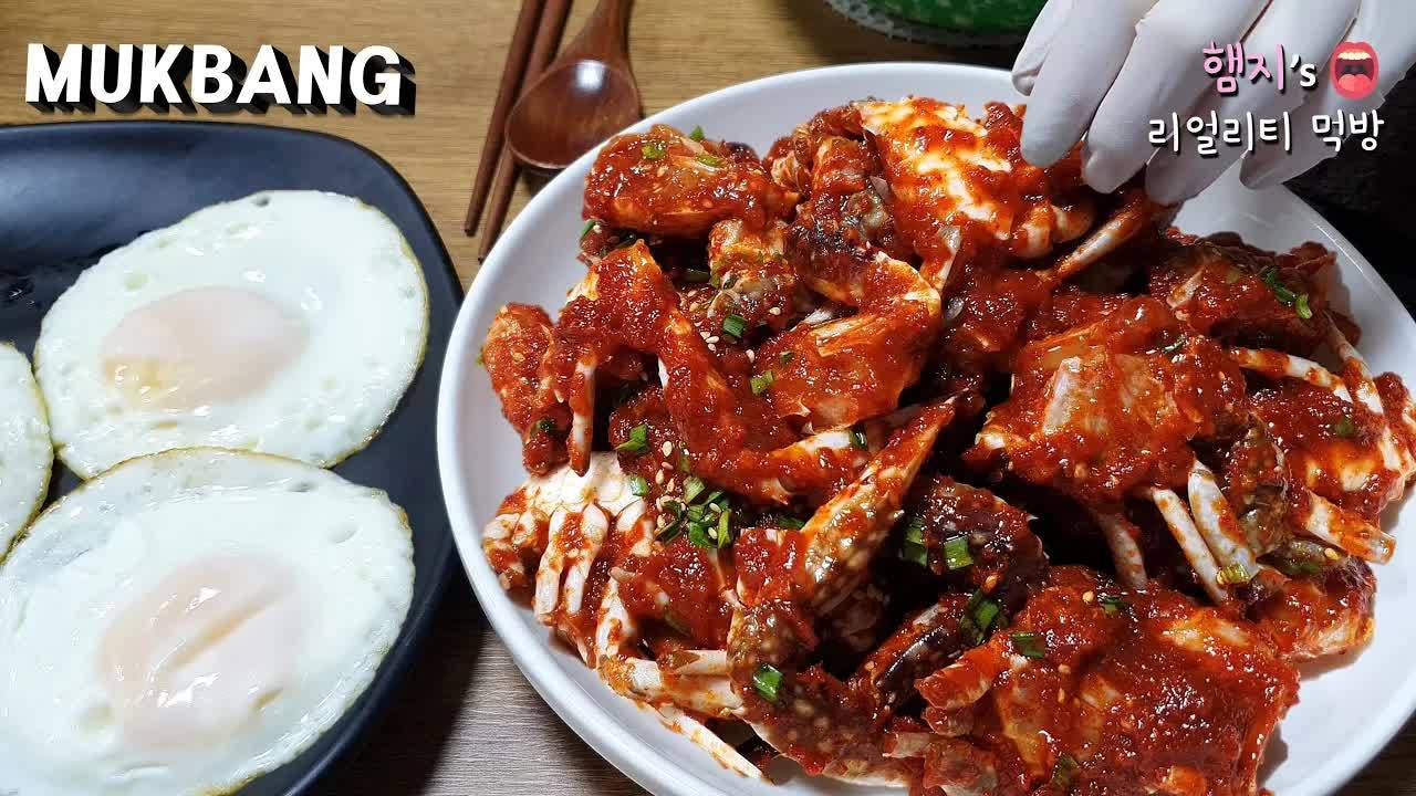 【Hamzy】韩国真香chibo:)今天吃妈妈做的辣味酱蟹~!嘻嘻 (ft.煎蛋) ★ 甜点是三明治