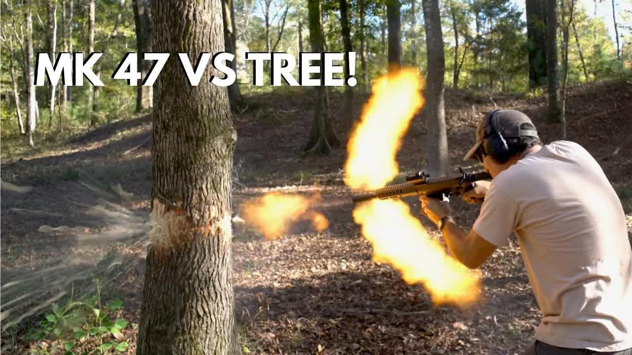[Top Shot Dustin]挑战用MK47步枪射断一棵树