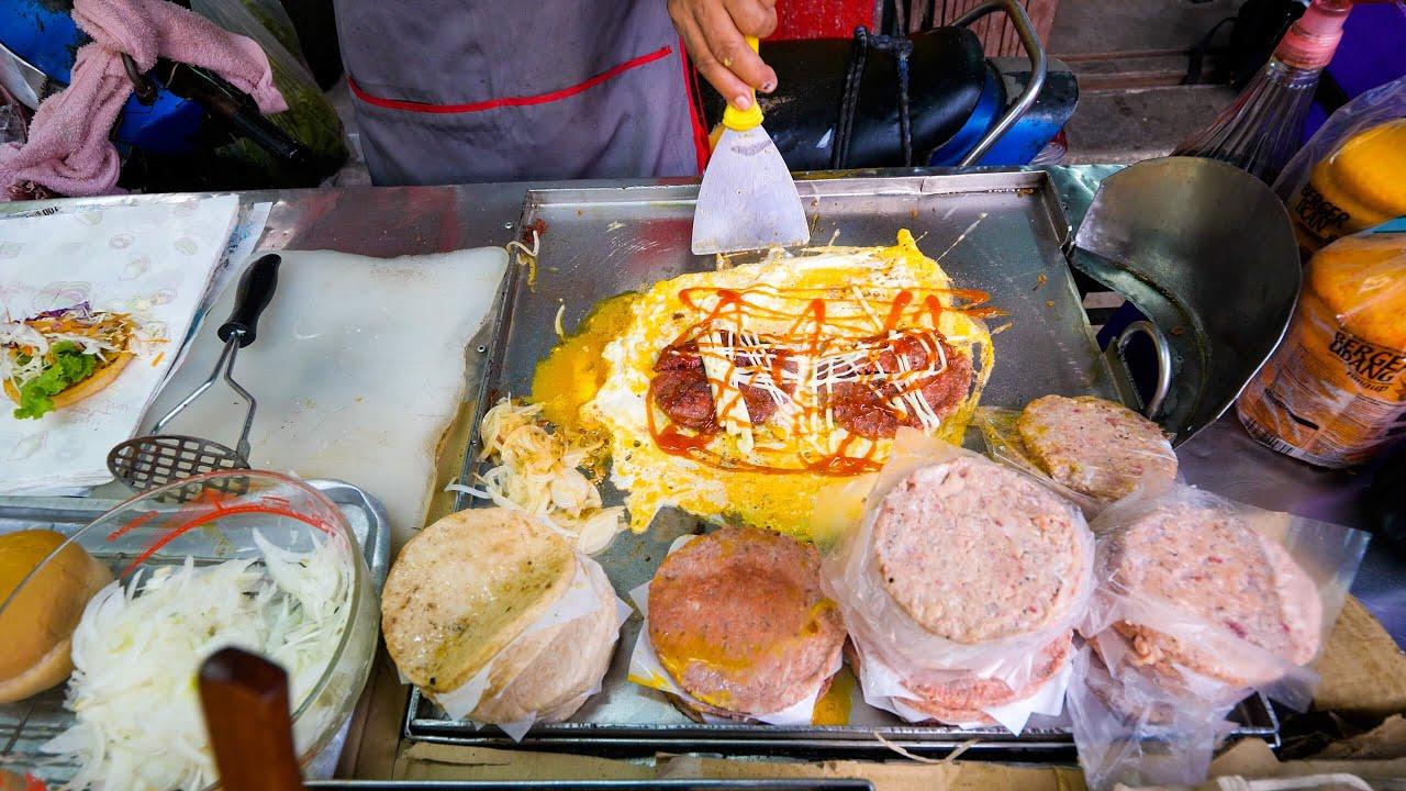 街汉堡制作! !漂亮的煎蛋卷汉堡!我是泰国人