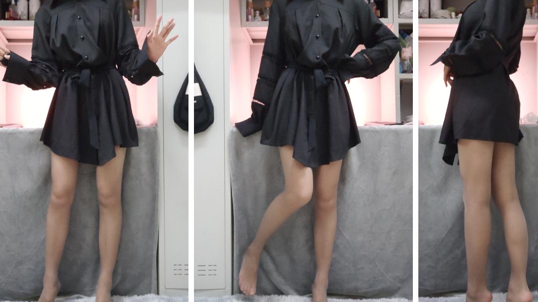 九:大冷天挑战穿灰丝和黑丝。
