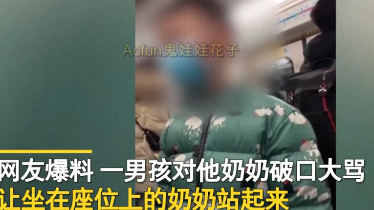 北京地铁男孩不让奶奶坐着对其大吼大叫:我警告你给我起来!