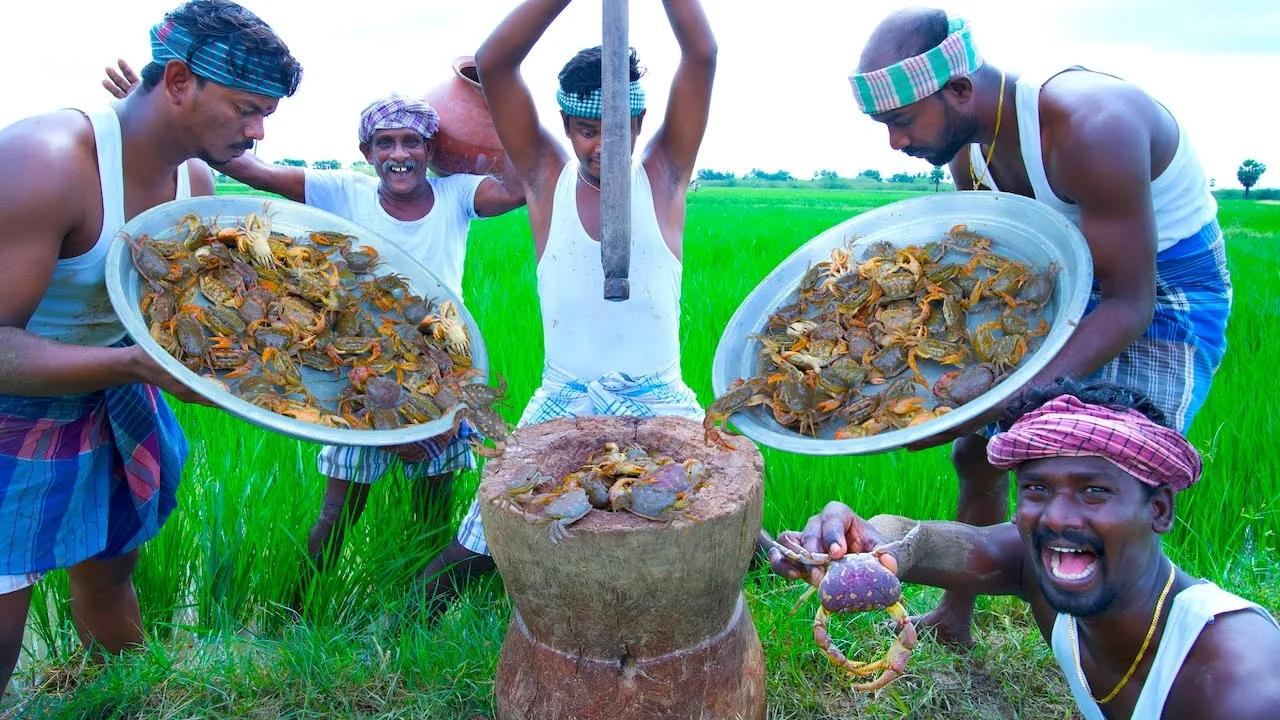 印度三哥-乡村螃蟹汤,全部捣碎煮汤拌饭