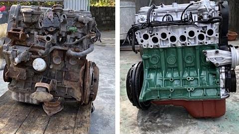 翻新修复生锈丰田发动机
