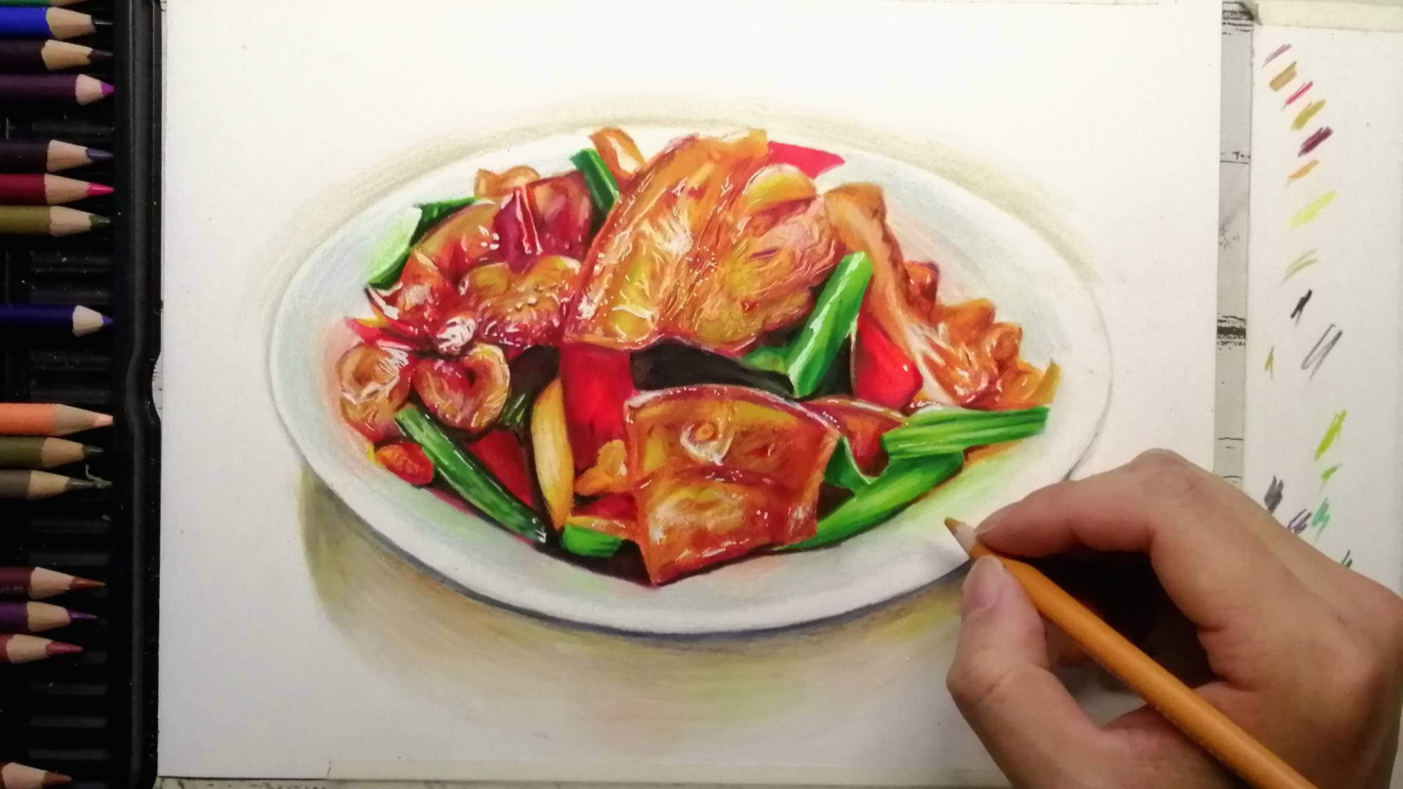 笔尖上的美食:画一大盘炒肉