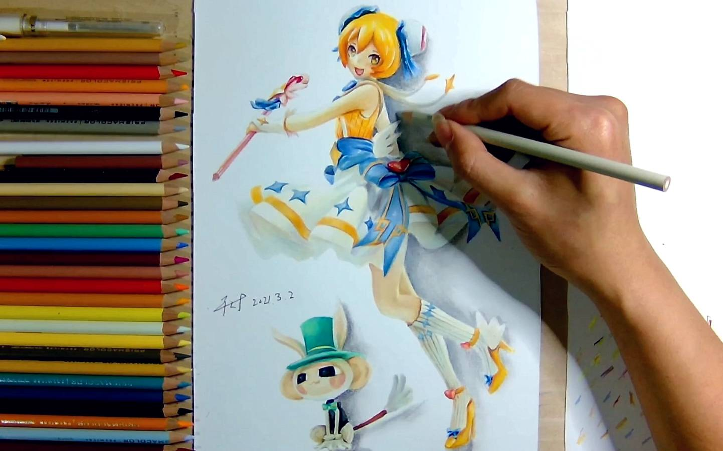 彩铅手绘:如何在纸上做一个ac娘手办。
