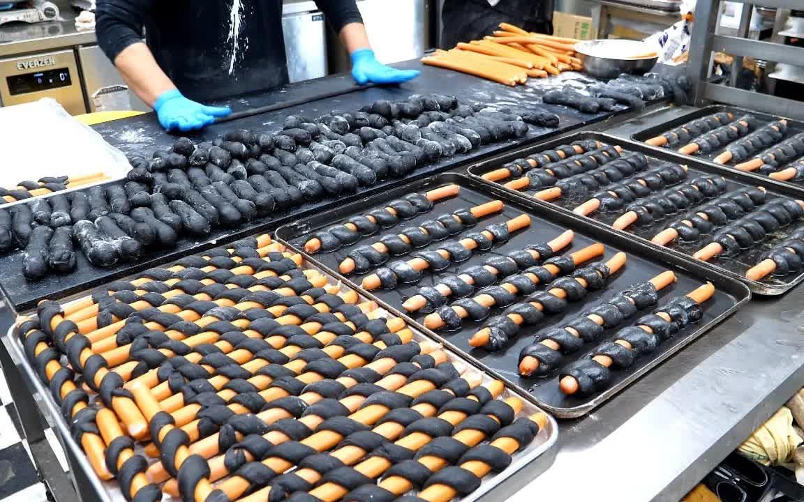 长奶酪香肠面包制作-韩国街边小吃
