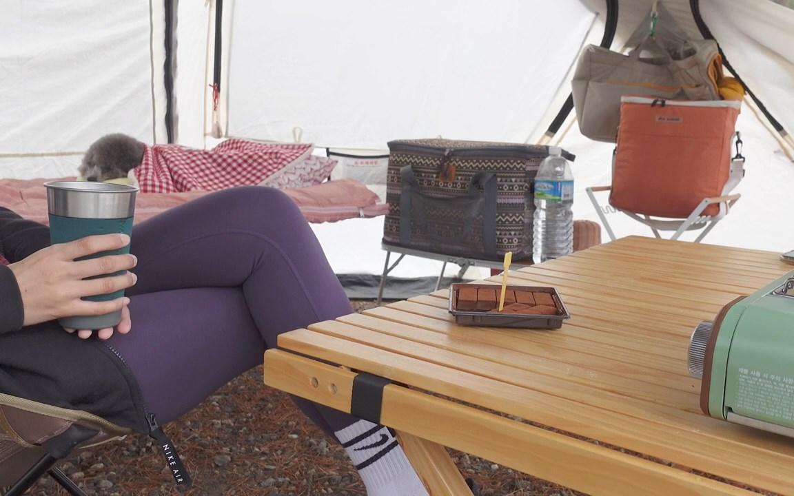 【户外】雨天跟小姐姐户外搭帐篷吃火锅去