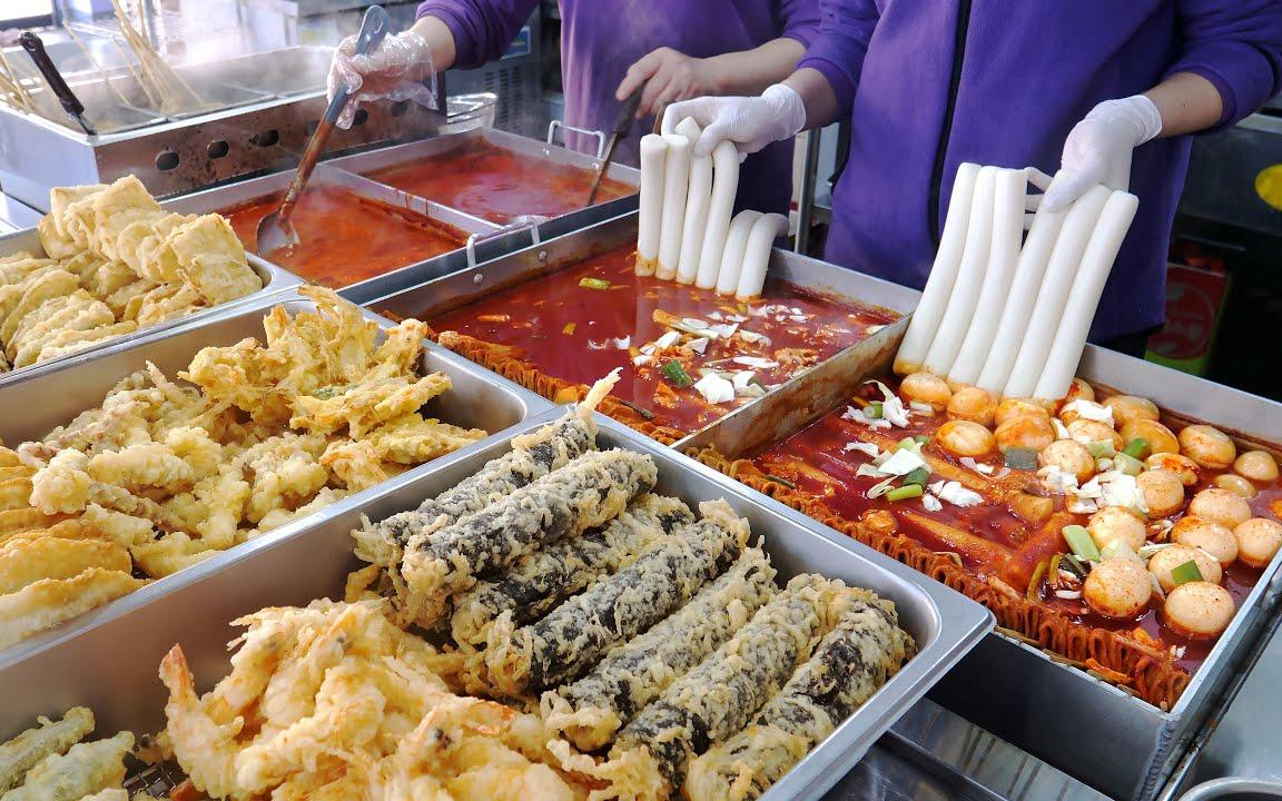 这是韩国最好的自制小吃店! Tteokbokki,炸薯条 韩国街边小吃