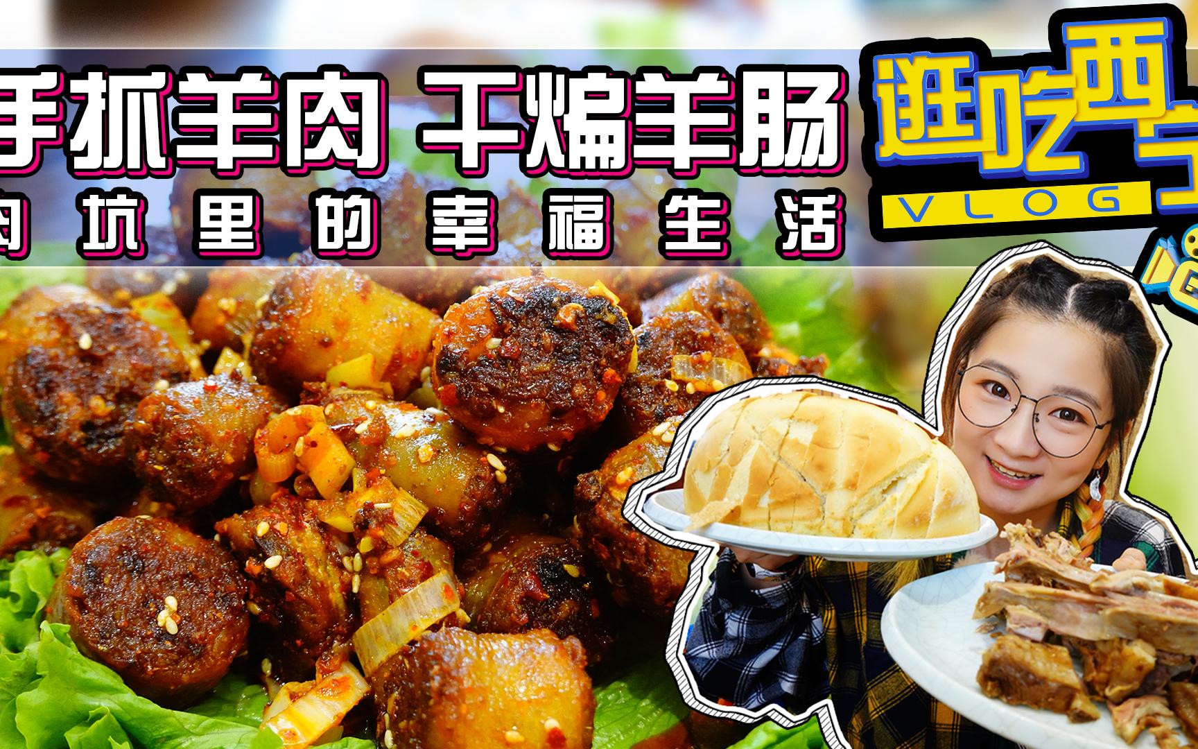 【逛吃西宁】第一顿黄焖手抓羊肉!干煸羊肠!肉堆里的生活开始啦