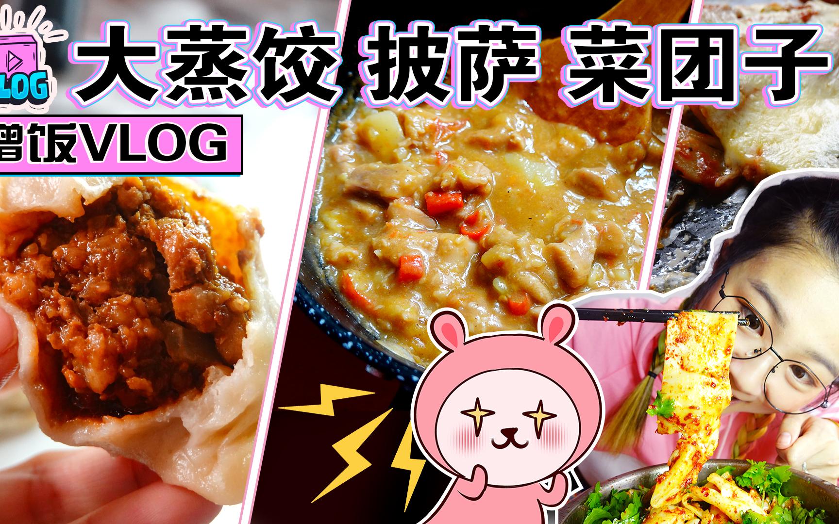 【吃喝vlog】阿姨的酱肉大蒸饺、油泼面!小姐姐的黑暗地三鲜披萨、山寨版本油焖鸡~