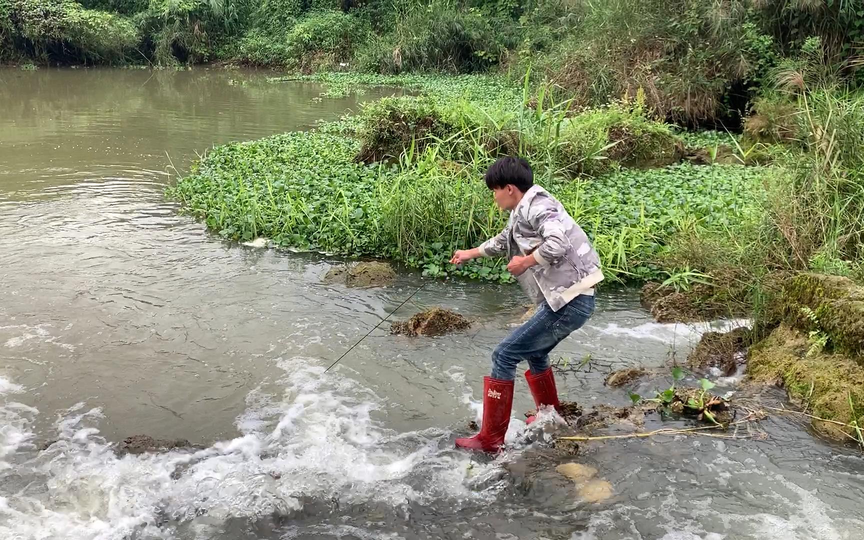 小明河里放4个鱼笼遭遇洪水,3天后收笼意外了,究竟捕到什么靓货