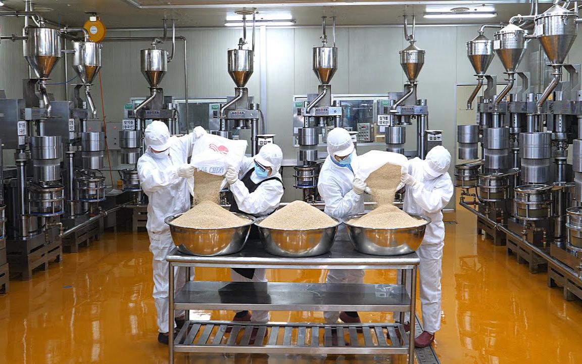 有趣而干净的麻油厂和韩国传统食品