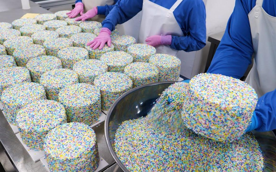 爆炸前的一步!炸弹巧克力!蛋糕厂大量生产炸药鲜奶油蛋糕-韩国街头食品