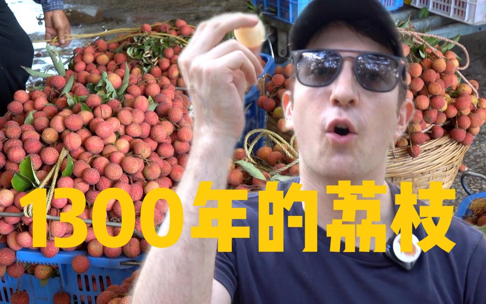 美国小哥试吃1300年广东荔枝,95%美国人可能从没吃过荔枝?
