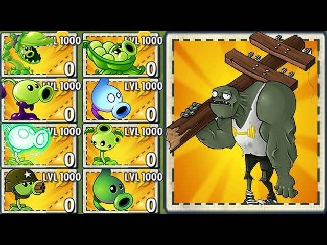 all pea plants level 1000 power-up!in plants vs zombies