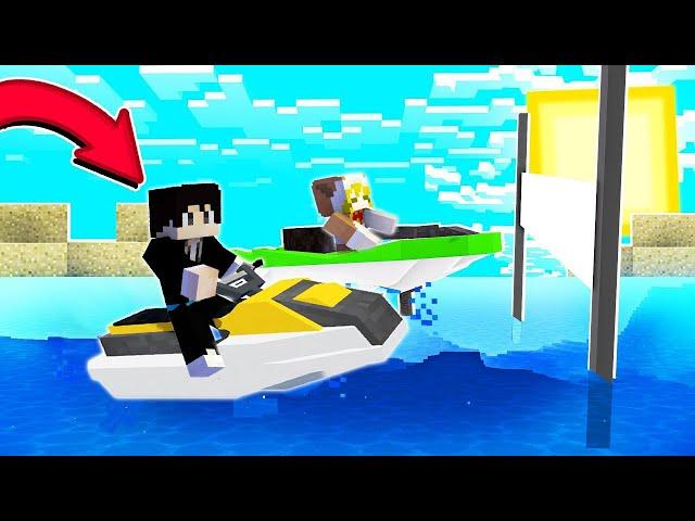 【木鱼】我的世界: 制作水上摩托快艇,玩起了海上竞速比赛!