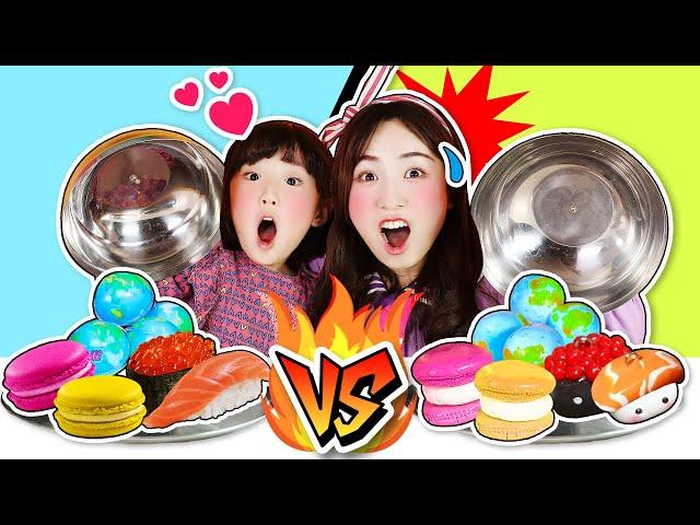 真假食物挑戰之到底是真的食物呢還是粘土食物呢 real food challenge 小伶玩具   xiaoling toy