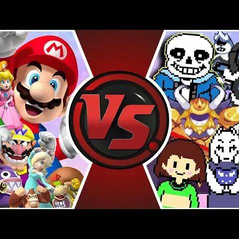 mario vs undertale total war!(mario vs sans,undertale/deltarune animation) cartoon fight rewind