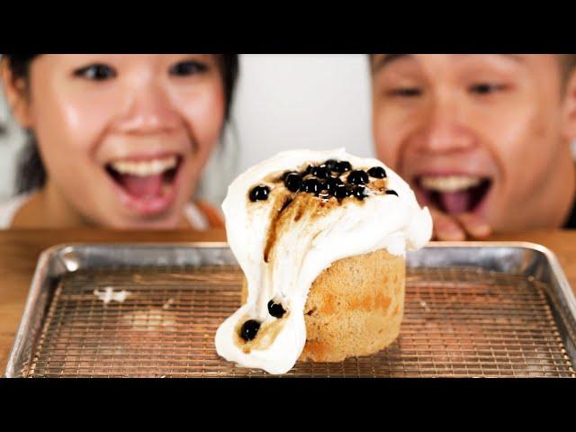i made the crazy bubble tea lava cake from taiwan